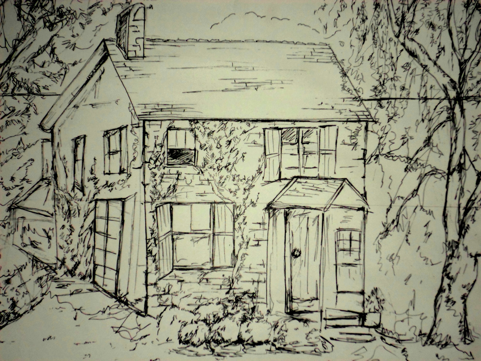 Line Drawing House : Fineliner drawings